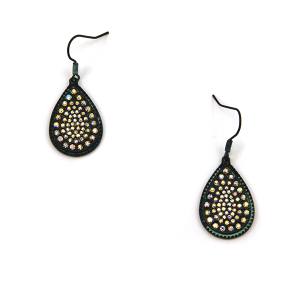 Earring 2579c 18 Treasure tear drop rhinestone earrings patina