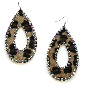 Earring 2157 18 Treasure tear drop hoop leopard earrings rhinestone