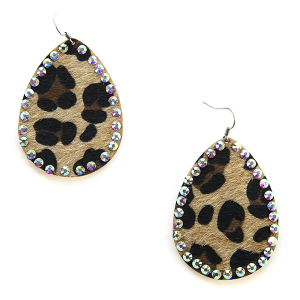 Earring 1682 18 Treasure tear drop leopard earrings rhinestone