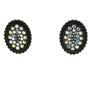 Earring 2912a 18 Treasure oval rhinestone stud earrings black ab