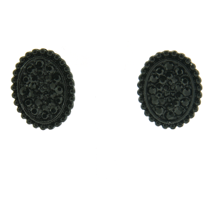 Earring 1487c 18 Treasure oval rhinestone stud earrings black