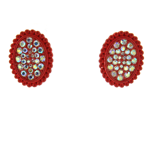 Earring 2400d 18 Treasure oval rhinestone stud earrings red
