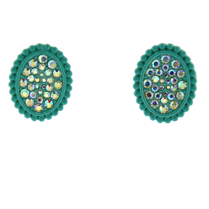 Earring 117c 18 Treasure oval rhinestone stud earrings turquoise