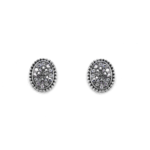 Earring 2312 18 Treasure oval rhinestone stud earrings silver