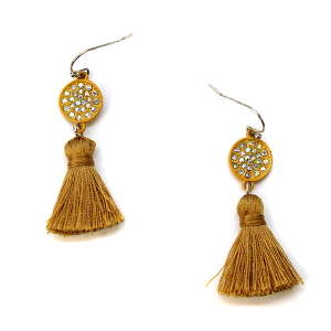 Earring 452c 18 Treasure rhinestone earrings tassel mustard