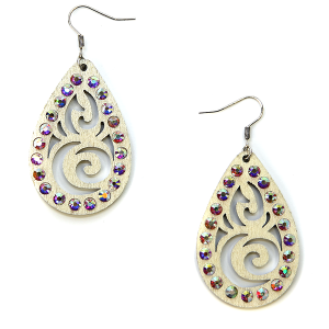 Earring 2957a 18 Treasure filigree rhinestone earrings wood tear drop ivory