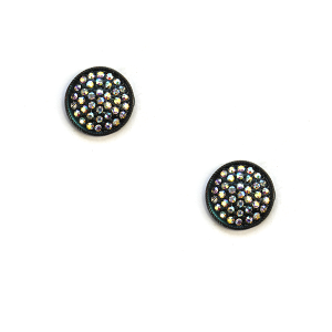 Earring 1757b 18 Treasure stud rhinestone earrings patina