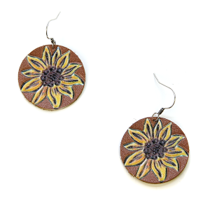 Earring 032e 18 Treasure leather sunflower earrings brown