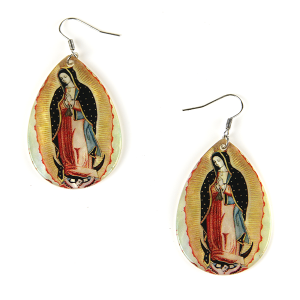 Earring 1571e 18 Treasure resin virgin mary earrings