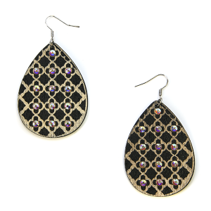 Earring 2865c 18 Treasure tear drop rhinestone earrings wood pattern black