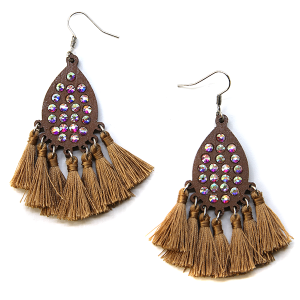 Earring 2494c 18 Treasure tear drop rhinestone earrings wood tassel brown