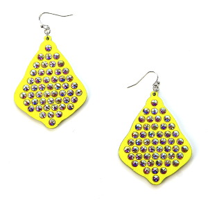 Earring 2871d 18 Treasure tear drop rhinestone earrings wood yellow