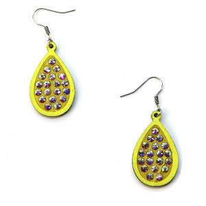 Earring 2502a 18 Treasure tear drop rhinestone earrings wood neon yellow