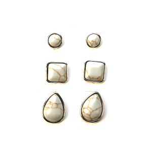 Earring 2518a 18 Treasure 3 set navajo earrings white