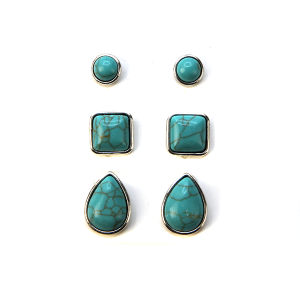 Earring 2524e 18 Treasure 3 set navajo earrings turquoise