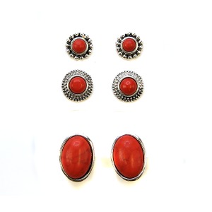Earring 2275a 18 Treasure 3 set navajo earrings red