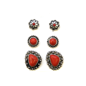 Earring 2307a 18 Treasure 3 set navajo earrings red