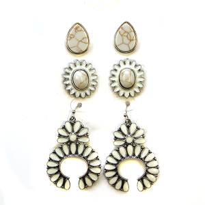 Earring 2351b 18 Treasure 3 set navajo earrings white