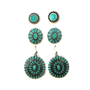 Earring 2679b 18 Treasure 3 set navajo style earrings turquoise