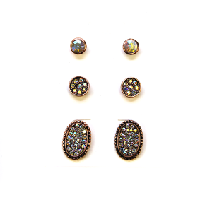 Earring 2366d 18 Treasure 3 set stud earrings rhinestone copper