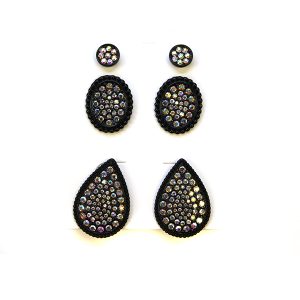 Earring 2377e 18 Treasure 3 set stud earrings rhinestone black ab