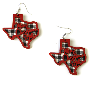 Christmas Earrings 169 Texas Merry Christmas Yall earrings wood red white plaid
