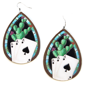 Earring 291g leather cactus earrings ace of spade