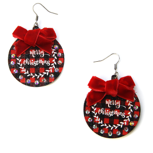 Christmas Earrings 009 wood rhinestone ribbon merry christmas earrings red plaid