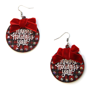 Christmas Earrings 078 wood rhinestone ribbon happy holidays yall earrings red plaid