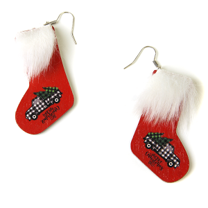 Christmas Earrings 241 stockings earrings wood fur christmas truck
