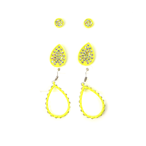Earring 484a 18 Treasure 3 set rhinestone earrings tear drop neon yellow