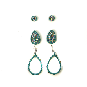 Earring 490a 18 Treasure 3 set rhinestone earrings tear drop turquoise