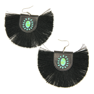 Earring 1590c 18 Treasure leather tassel fan earrings black