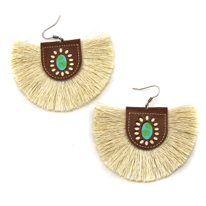 Earring 1633c 18 Treasure leather tassel fan earrings ivory
