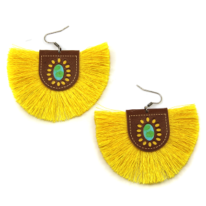 Earring 1572a 18 Treasure leather tassel fan earrings yellow