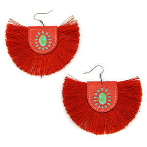 Earring 1659b 18 Treasure leather tassel fan earrings red