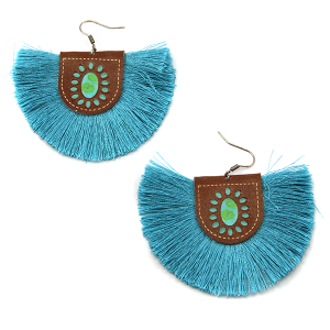 Earring 1571a 18 Treasure leather tassel fan earrings turquoise