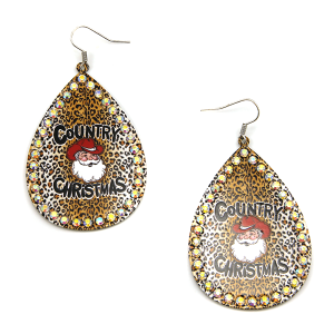 Christmas Earring 306a 18 Treasure Country Christmas Santa Earrings leopard brown