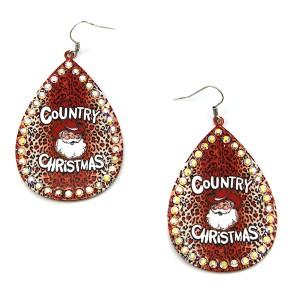 Christmas Earring 222a 18 Treasure Country Christmas Santa Earrings leopard red