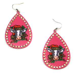 Christmas Earring 252a 18 Treasure cow leopard earrings pink