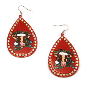 Christmas Earring 216a 18 Treasure cow leopard earrings red