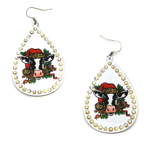 Christmas Earring 242a 18 Treasure cow leopard earrings white