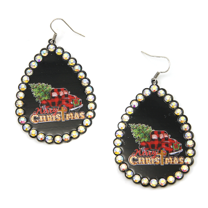 Christmas Earring 336 18 Treasure truck haul xmas tree plaid black