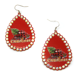 Christmas Earring 244b 18 Treasure truck haul xmas tree plaid red