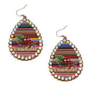 Christmas Earring 322a 18 Treasure truck haul xmas tree plaid serape multicolor