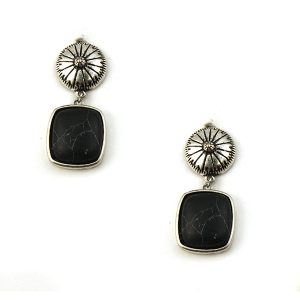 Earring 3320b 18 Treasure stud navajo earrings black stone