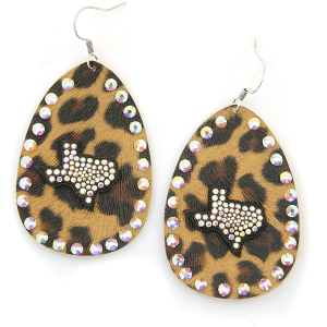 Earring 4589 18 Treasure leather leopard rhinestone texas earrings black