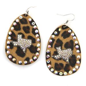 Earring 4588 18 Treasure leather leopard rhinestone texas earrings silver ab