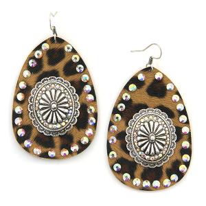 Earring 4586 18 Treasure leather leopard rhinestone concho earrings silver ab