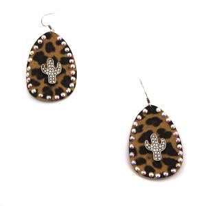 Earring 3515c 18 Treasure tear drop rhinestone leopard earrings cactus silver ab
